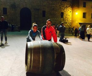A wine barrel race in Montepulciano Tuscany